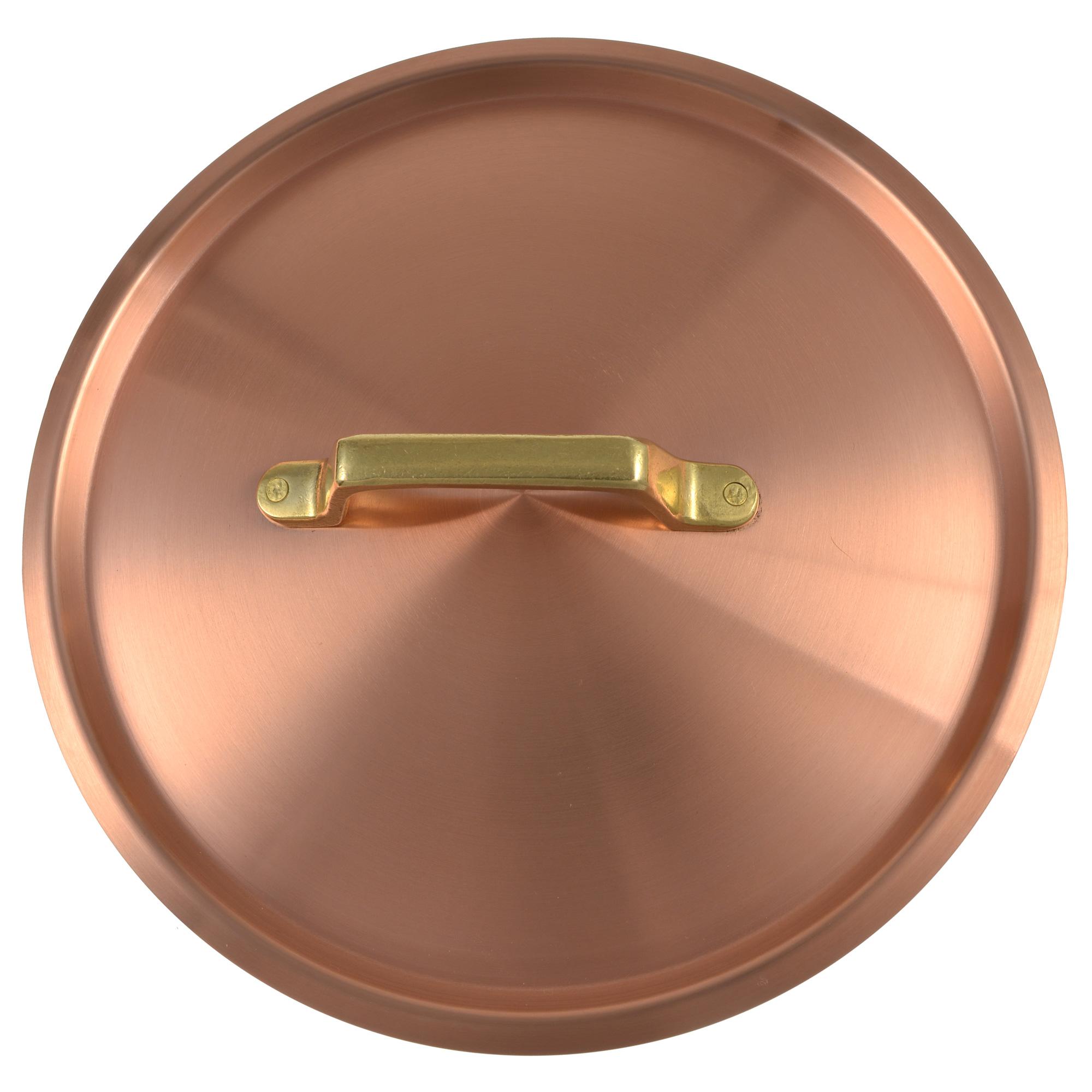 Kupfermanufaktur Kupferdeckel mit Messinggriff 12 cm